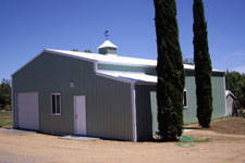 Texas metal building with tool shed