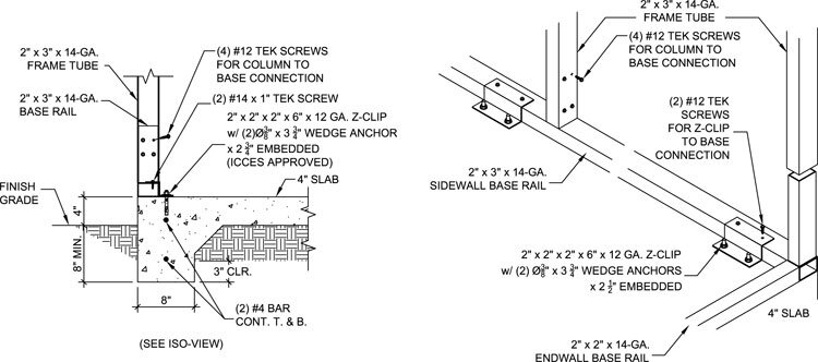 Metal building anchored to concrete slab footing metal for Concrete slab house plans