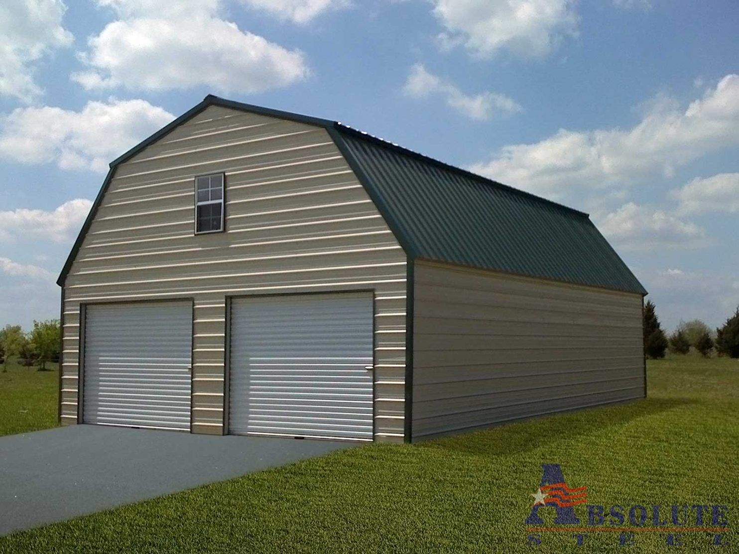 Gambrel barn style metal building kit for Metal barn home kits