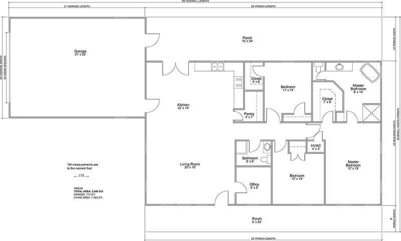 Celeste Style Barndominium Floor Plan